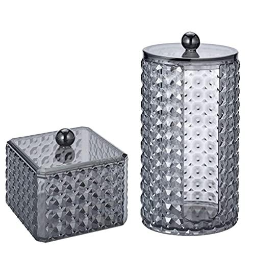NIDONE Contenedor de almohadilla de algodón Contenedor de almohadillas de maquillaje Caja organizadora de cosméticos Tarro de almacenamiento con tapa 2PCS