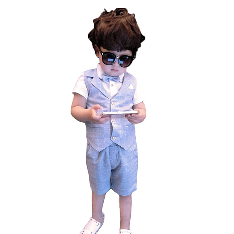 topmodelss子供スーツ フォーマル 男の子 子供服 上下セット半袖 ハーフパンツ ベスト七五三 結婚式 全3色