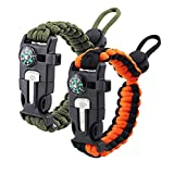 ZHIYE Survival Paracord Bracelet Flint Fire Starter Scraper Compass Wilderness Survival Whistle Adjustable Wristband 2Pack Armygreen&BlackOrange