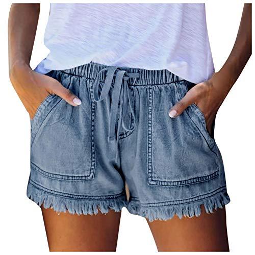 Pantalones chinos para mujer, de un solo color, pantalones de verano, bermudas, pantalones de ocio, sueltos, para el tiempo libre, para correr, para la playa, B-azul, S