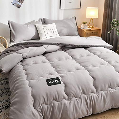TOSBTD All-Season Down Alternative Quilted Comforter Premium Soft Duvet Insert Box Stitched Quilt for Home, Hotel, Dorm Room,Gray,220x240cm/3kg