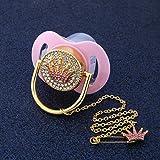 Bling Schnuller Kristall Rosa Herz Krone Schnuller Clip Set, Luxus Auge Brief Design Baby Schnuller Dummy Schnuller Kette Baby Dusche Geschenk
