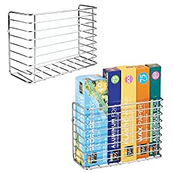 metal wall mount baskets to hold plastic and foil wrap