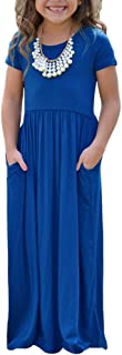 Girls Cap Sleeve Cinched Long Maxi Dress Casual Size 4-14 Years Old
