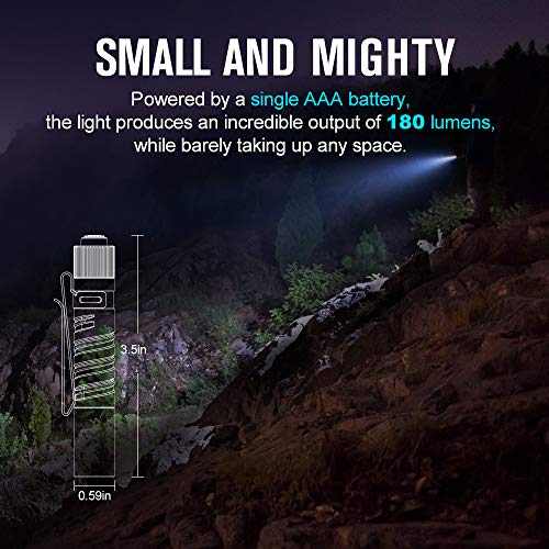 OKIGHT I3T EOS 180 Lumens Dual-Output Slim Pocket EDC Torch for Camping and Hiking, Tail Switch Flashlight with AAA Battery (Brass)