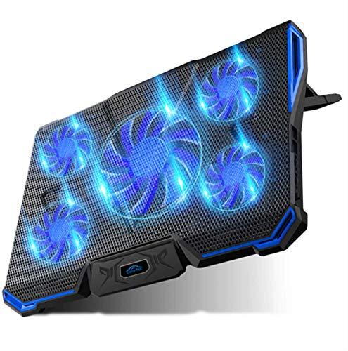 Caranteeノートパソコン冷却パッド冷却台ノートPCクーラー5つ冷却ファン7段階調整USB2ポート超静音LED搭載風量調節17インチ型まで対応(ブルー)