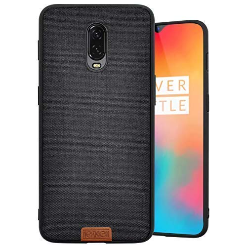 Noziroh Cover Jeans per OnePlus 6T Originale Fashion Design Case Stoffa Ruvida - Nero