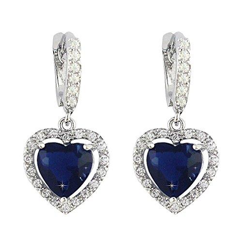 SELOVO Love Heart Hoop Drop Earrings Lever Back Navy Blue Sapphire Color Zircon Silver Tone