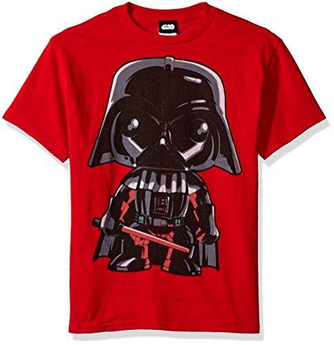 Star Wars Boys' Big Cartoon Funk Darth Vader Emoji Graphic Tee, red, YXS