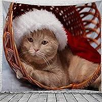 タペストリークリスマスウォールハンギングクリスマスドッグホームデコクリスマスギフトプリントタペストリーラージサイズタペストリー150x200cm