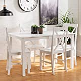 Walker Edison 4 Person Modern Farmhouse Wood Small Dining Table Dining Room Kitchen Table Set Dining 4 Chairs Set, 48 Inch, White