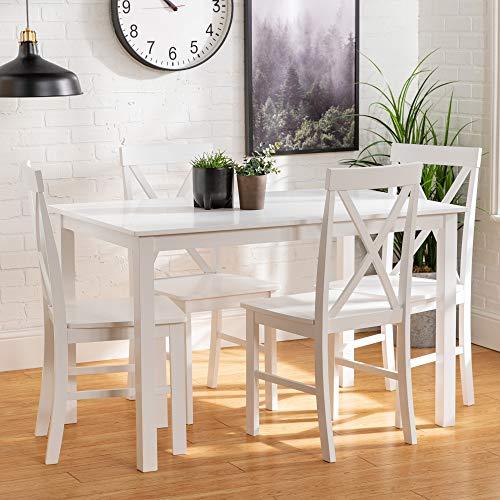 "Walker Edison Farmhouse Solid Wood Dining Set, 48"", White"