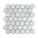 Carrara White Italian (Bianco Carrara) Marble 2 inch Hexagon Mosaic Tile, Honed