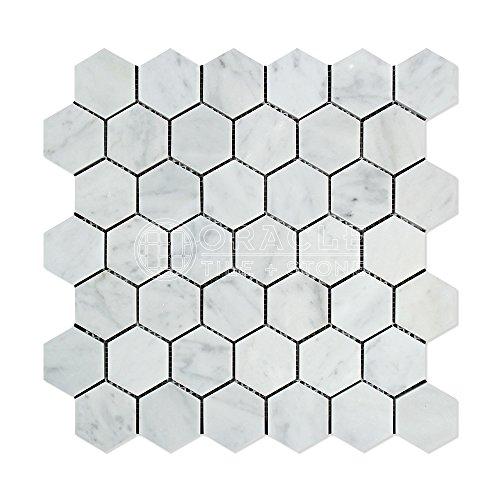 Carrara White Italian (Bianco Carrara) Marble 2 inch Hexagon Mosaic Tile, Polished