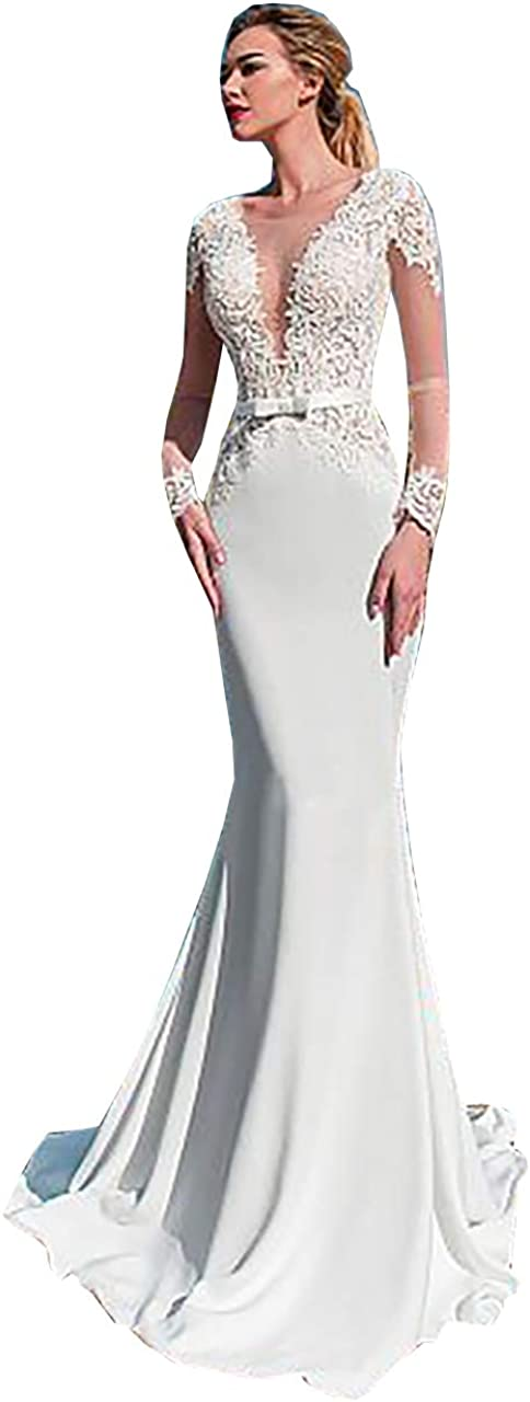 Melisa Women's Lace Sash Mermaid Wedding Dresses for Bride with Train Long Sleeves Illusion Satin Bridal Ball Gown