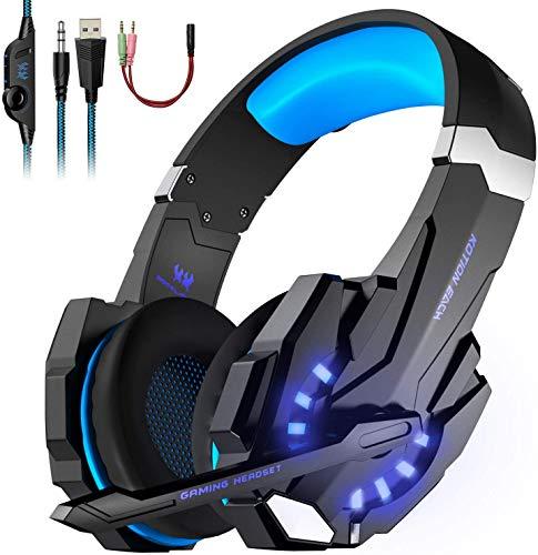 LESHP Auriculares Gaming Cascos Gaming Auriculares Juegos Para PS4 / PC/Xbox One/Switch/Tableta/Celular- Headset Con Micrófono, Audio Estéreo,Led Luces ,Amicrófono Antiruido