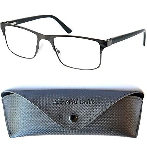 Blauwlichtfilter met Rechthoekige Transparante Lenzen, GRATIS Brillenkoker, Metaal Montuur (Grafiet), Leesbril en Computerbril Mannen en Vrouwen +2.5 Dioptrie