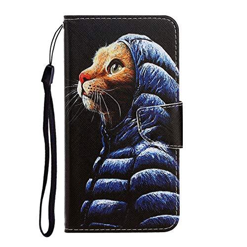Fatcatparadise Kompatibel mit Samsung Galaxy S8 Plus + Displayschutz, PU Leder Tasche Gemalt Muster Flipcase Cover Ultra Dünn Brieftasche Handyhülle Handytasche Ledertasche (Katze 1)