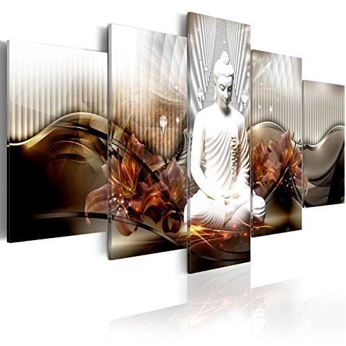murando - Cuadro en Lienzo Buda Zen SPA 225x112 cm Impresión de 5 Piezas Material Tejido no Tejido Impresión Artística Imagen Gráfica Decoracion de Pared h-C-0043-b-n