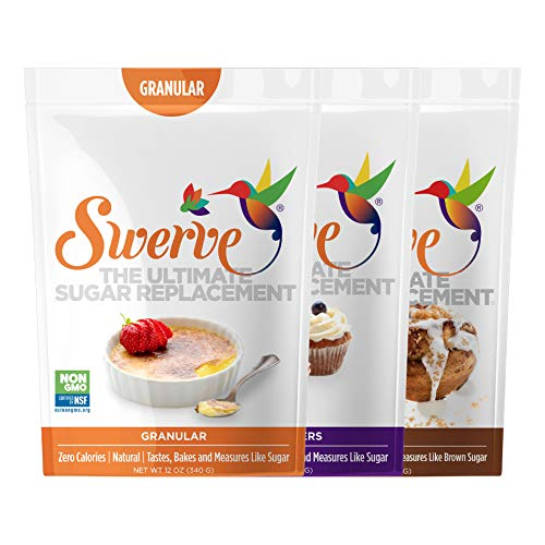 Swerve Sweetener, Baker's Trio, Granular 12 oz, Confectioners 12 oz, and Brown 12 oz, 3 pack