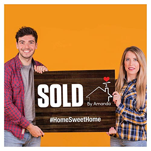 Real Estate Sold by Sign, Testimonial Sign, Home Sweet Home Sign, Realtor Marketing props, Real Estate Gift for Clients, Real Estate Personalized Sign, Real Estate Sold Signs, Size 24x18 and 36x24