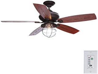 Hampton Bay Sailwind II 52 Inch Indoor and Outdoor Oil Rubbed Bronze Ceiling Fan with Wall Control and Light Kit
