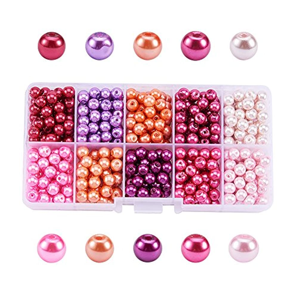 Pandahall 1 Box (about 600pcs) 10 Color Pink Theme Mixed Style Glass Pearl Round Beads Assortment Lot for Jewelry Making, 6mm, Hole: 1mm