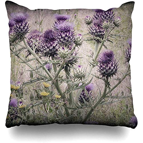 jonycm Pillowcase in A Thistle Field Pillowcase Decorative Pillow Case Decor Square Home Throw Pillow Cover 45X45cm