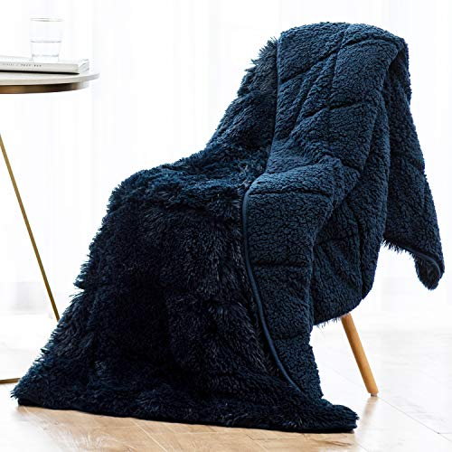 Wemore Shaggy Long Fur Faux Fur Weighted Blanket, Cozy and Fluffy Plush Sherpa Long Hair Blanket for Adult 15lbs, Fluffy Fuzzy Sherpa Reverse Heavy Blanket for Bed, Couch, Navy Blue, 60 x 80 Inches