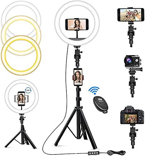 """Zuukoo 10\"""" Ringlicht mit Stativ Handy, LED Ring Light mit 3 Farben, 10 Helligkeiten, Selfie Ringleuchte mit Bluetooth Fernbedienung für Telefon, Kamera und Go Pro, Live-Streaming, Make-up, Fotografie"""