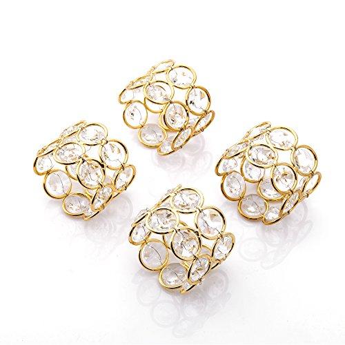 Feyarl 4 Glänzend Kristall Perlen Serviettenschnalle Hochzeit Fokus, besondere Anlässe, romantische Kerzenlicht Bankett Feier Dekoration (Gold) (4)