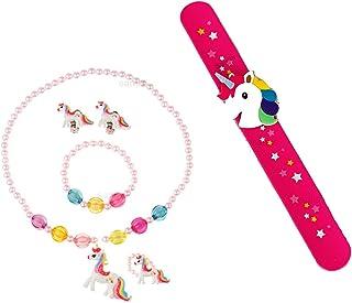 Sanjis Enterprise combo of 2: unicorn kid's jewellery set   unicorn slap band birthday Return Gift for Kids(Random color)