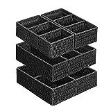 SONGMICS Aufbewahrungsboxen für Unterwäsche, Schubladen-Organizer, aus Papierseil, geflochten, mit...