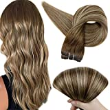 Full Shine 14 Inch Hair Weft Sew In Hair Extensions Balayage Hair Color 4 Fading To 24 Honey Blonde Highlighted 4 Medium Brown 100 Gram Weave In Remy Hair Bundle