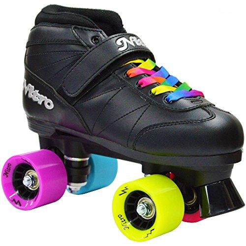 New! Epic Super Nitro Rainbow Indoor/Outdoor Quad Roller Speed Skates w/ 2 Pair of Laces (Rainbow & Black) & Free Jam Plugs! (Mens 7)