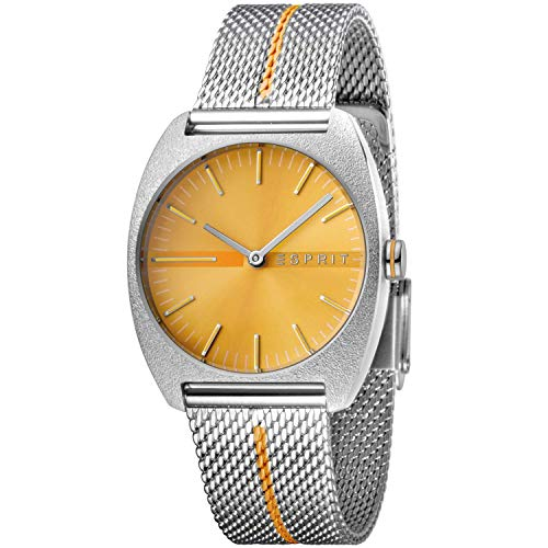 Esprit Damenuhr Spectrum Orange Stripe Mesh 5 Bar Analog Edelstahl Silber ES-3546