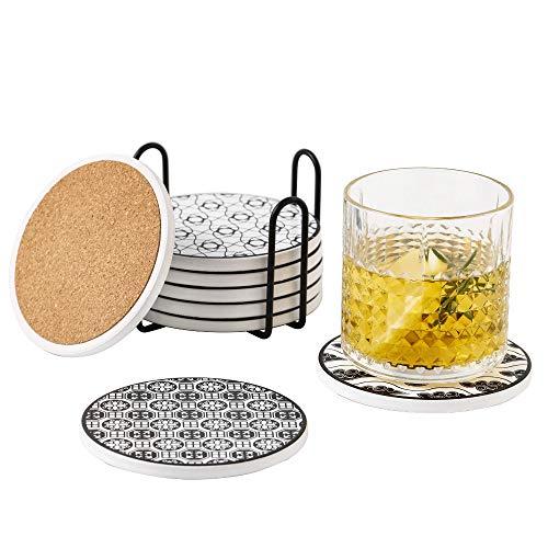 Vancasso Tasseuntersetzer Set, Haruka Untersetzer Set aus Hochtemperatur Verstärktem Porzellan und Kork, 8 teilig Getränke-Untersetzer mit Halter Für Getränke, Gläser, Tasse, Becher (rund | 10.3cm)