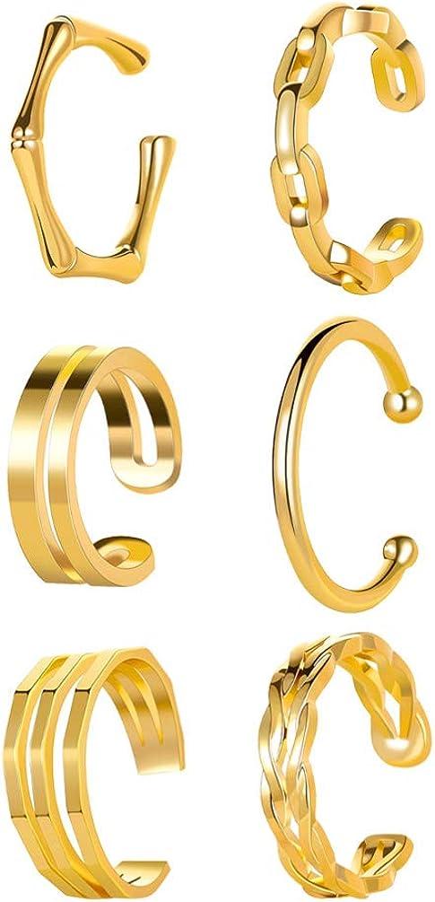 Holibanna 6Pcs Women Ear Cuff Earrings Ear Clips Non Pierced Cartilage Clip on Earring (Golden)