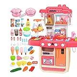 QuRRong Küche Spielen Tragbare Kinder Küche Spielset Pretend Kochen Spielzeug mit Kocheffekt for Junge Mädchen für Kleinkinder Kinder (Color : Pink, Size : 54.5x26x70cm)