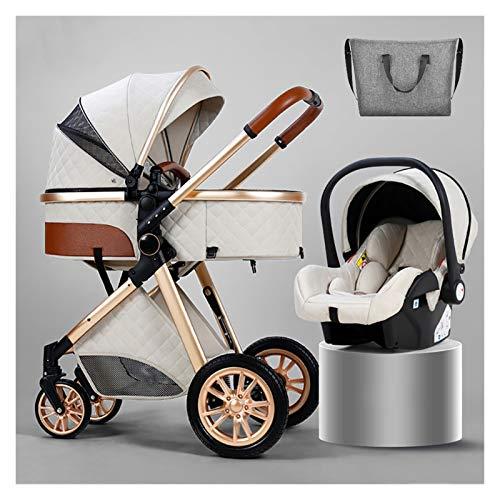 XYSQ 3 En 1 Sistema De Viaje De Carruaje para Bebés Infantiles Portátiles para Bebés, Cochecitos De Bebé para 0-36 Meses De Carrito De Bebé, Cochecito Plegable Multifunción (Color : White)