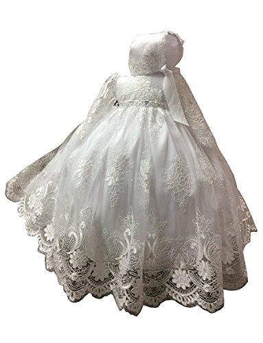 Kengtong Baby Mädchen Spitze Langes Taufkleid mit Mütze 0-24 Monate (Weiß, 12-18Monate)