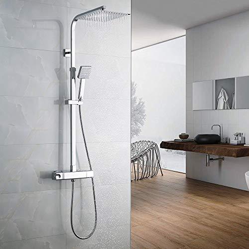 Auralum Sistema de ducha de lluvia, columna de ducha con termostato, gran cabezal de ducha de 25,4 cm con alcachofa de mano ABS, cabezal cuadrado y barra de ducha de acero inoxidable 304, cromado