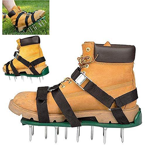 Benzinvertikutierer Schuhe mit 3 verstellbaren Riemen Gartengeräte Tough Sandalen Vertikutierer mit 26 Nägel für Aufblasbare Lawn Hof lose Erde Set