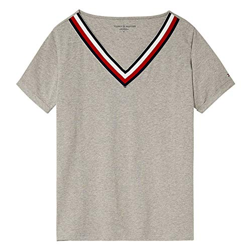 Tommy Hilfiger VN tee SS Capa de Base, Gris, S para Mujer