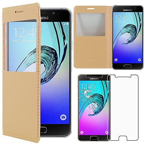ebestStar - Funda Compatible con Samsung A5 2016 Galaxy SM-A510F Carcasa Ventana Vista Cover Cuero PU, Funda Billetera, Dorado +Cristal Templado [NB:Leer descripción] [Aparato:144.8x71x7.3mm 5.2']
