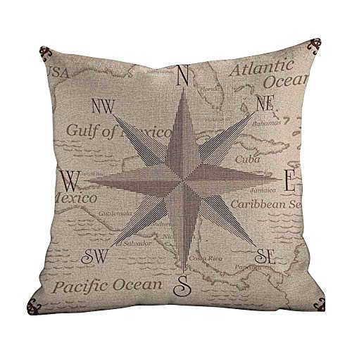 PotteLove Throw Pillow Covers Compass,Central American Map Caribbeans Background Windrose Design Gulf of Mexico Cuba,Lilac Plum,Home Decor Sofa Cushion Case 18'x18'inch
