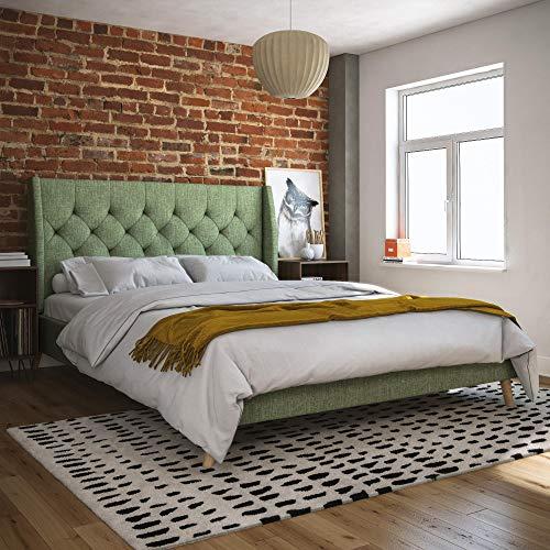 Novogratz 4356939N Her Her Majesty Upholstered Bed, Queen, Green