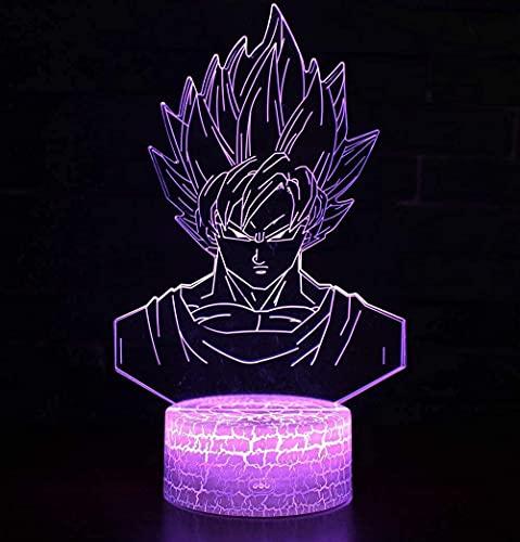 3D LED Luz de noche - Bola De Dragón Anime,7 colores Cambio control remoto 3D Ilusión óptica Lámpara,3D illusion lamp Adecuado para regalos navideños para niños y niñas