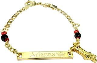 Tina&Co Personalized 14K Gold Plated Baby Name Bracelet Custom Bracelets for Kids Id Protection Bracelet Baptism for Girls