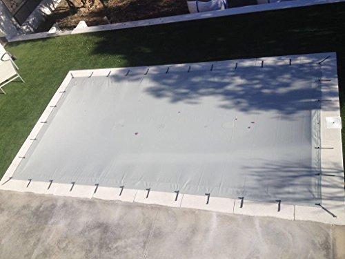 Matte Poolabdeckung für Pools von 5x3m bis 12x7m. Winterschutzabdeckung aus PVC mit 650g/m².